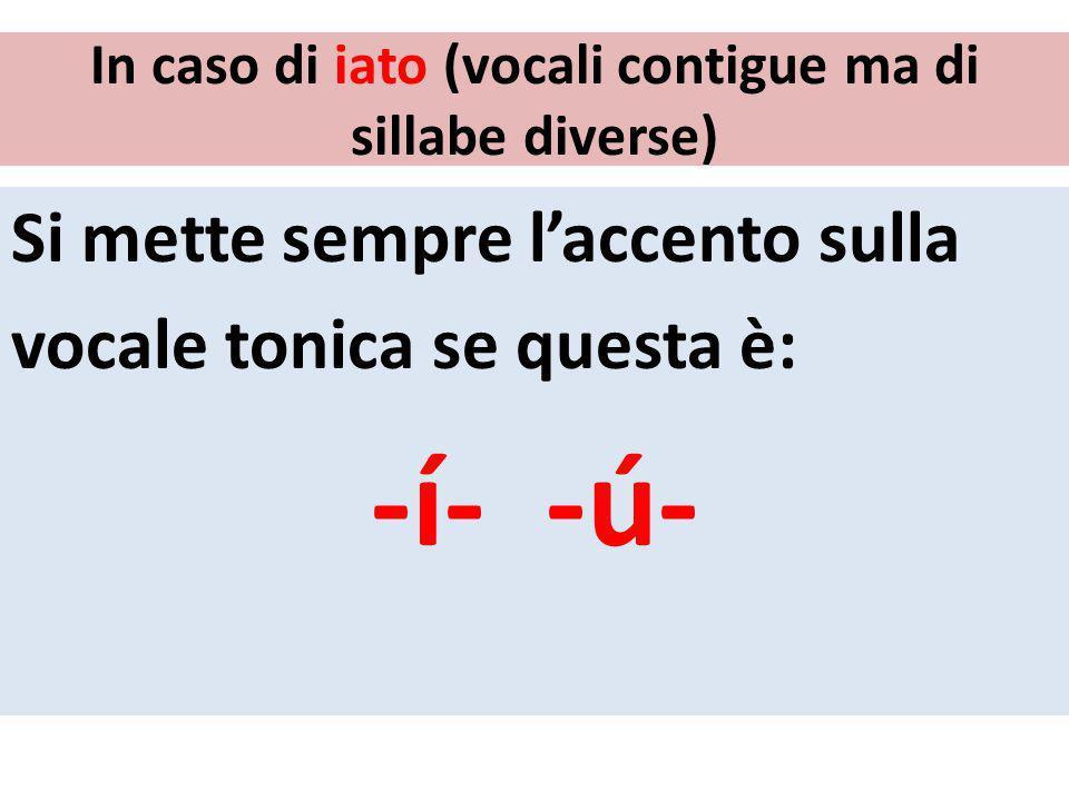 In caso di iato (vocali contigue ma di sillabe diverse) Si mette sempre laccento sulla vocale tonica se questa è: -í- -ú-