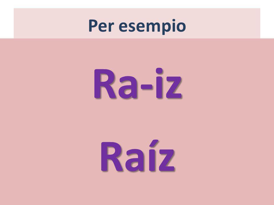 Per esempio Ra-iz Raíz