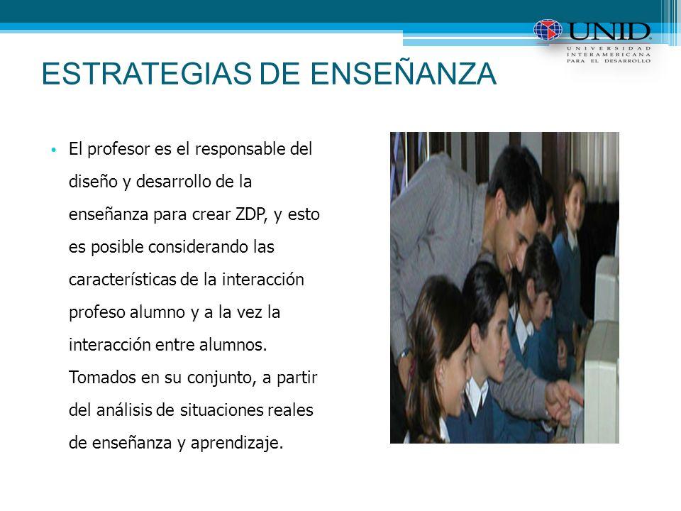 ESTRATEGIAS DE ENSEÑANZA El profesor es el responsable del diseño y desarrollo de la enseñanza para crear ZDP, y esto es posible considerando las características de la interacción profeso alumno y a la vez la interacción entre alumnos.