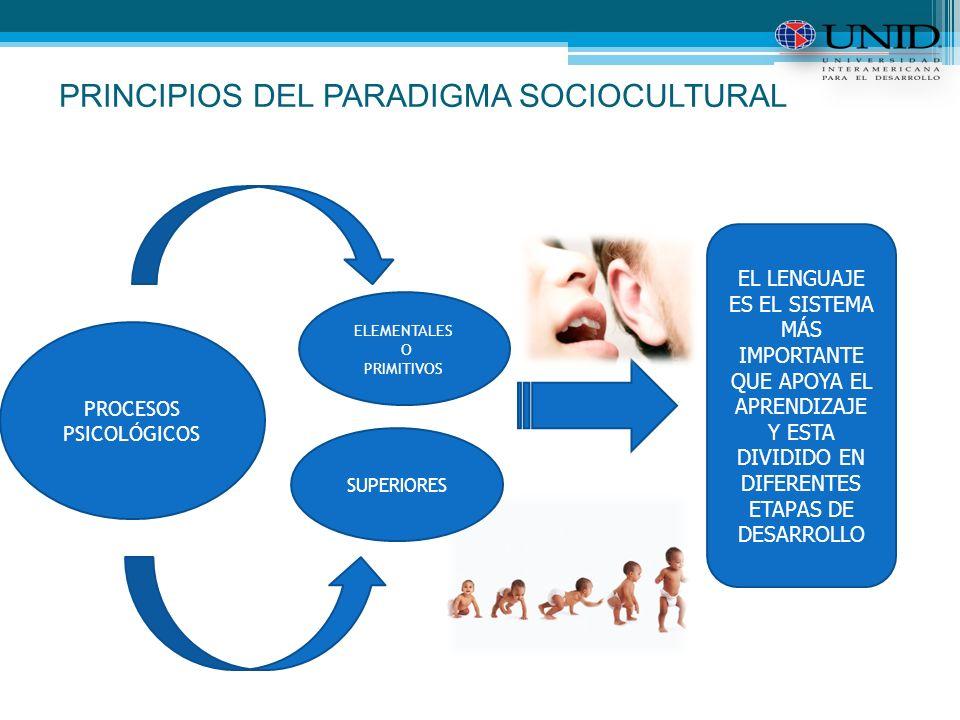 PRINCIPIOS DEL PARADIGMA SOCIOCULTURAL PROCESOS PSICOLÓGICOS ELEMENTALES O PRIMITIVOS SUPERIORES EL LENGUAJE ES EL SISTEMA MÁS IMPORTANTE QUE APOYA EL APRENDIZAJE Y ESTA DIVIDIDO EN DIFERENTES ETAPAS DE DESARROLLO