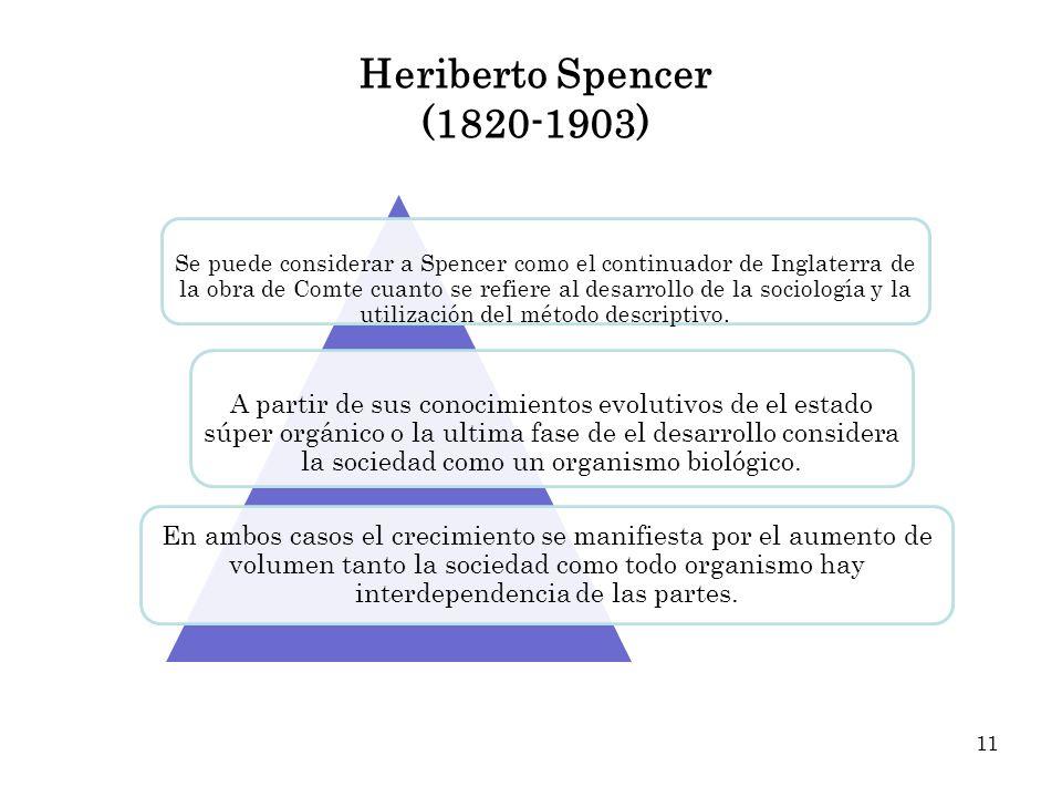 Heriberto Spencer (1820-1903) Se puede considerar a Spencer como el continuador de Inglaterra de la obra de Comte cuanto se refiere al desarrollo de l