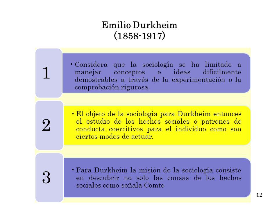 Emilio Durkheim (1858-1917) Considera que la sociología se ha limitado a manejar conceptos e ideas difícilmente demostrables a través de la experiment