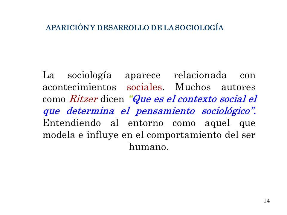 APARICIÓN Y DESARROLLO DE LA SOCIOLOGÍA La sociología aparece relacionada con acontecimientos sociales. Muchos autores como Ritzer dicen Que es el con