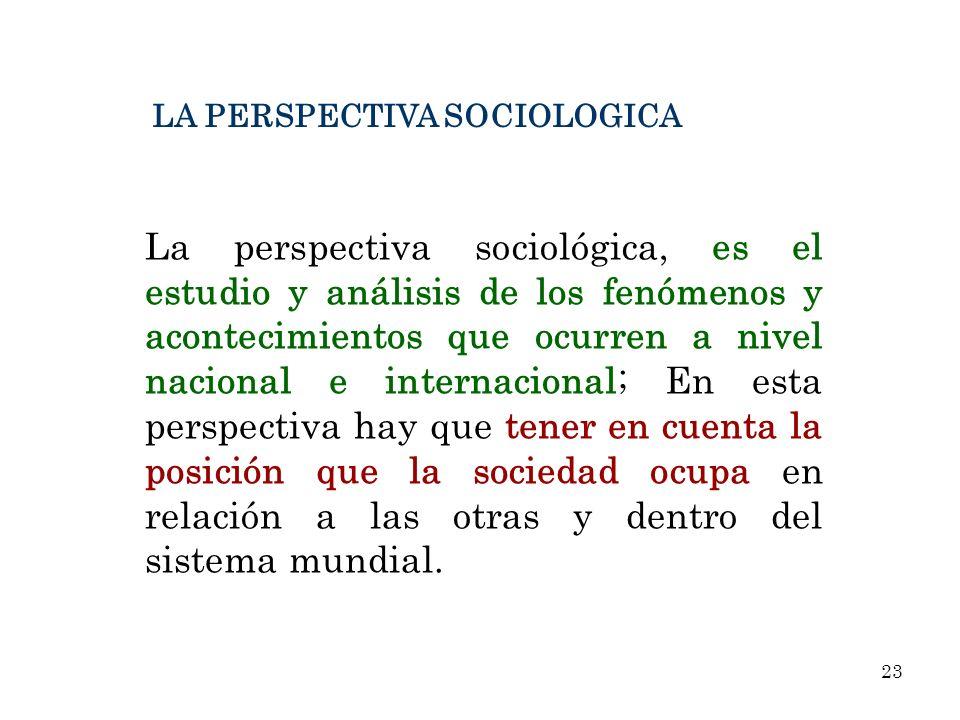 La perspectiva sociológica, es el estudio y análisis de los fenómenos y acontecimientos que ocurren a nivel nacional e internacional; En esta perspect