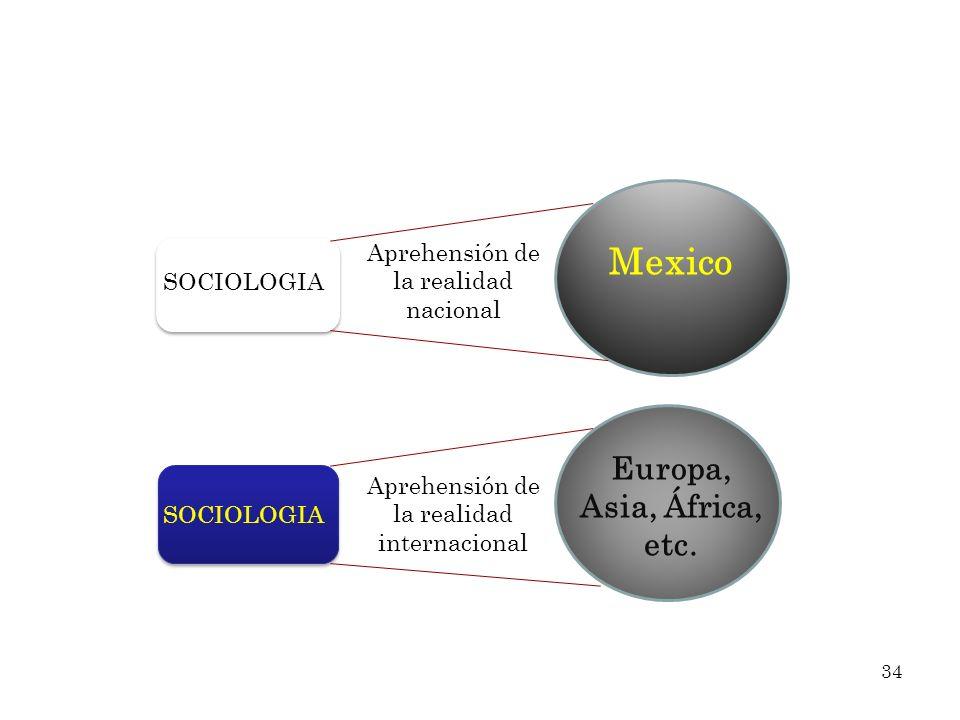 Aprehensión de la realidad nacional Aprehensión de la realidad internacional SOCIOLOGIA Mexico Europa, Asia, África, etc. 34