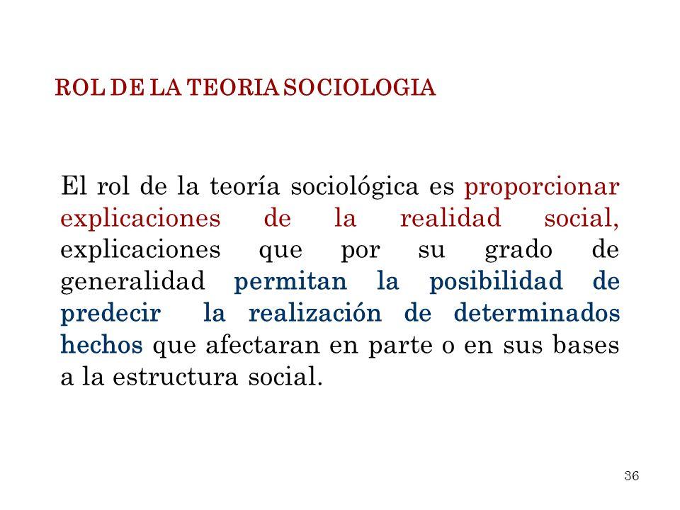 ROL DE LA TEORIA SOCIOLOGIA El rol de la teoría sociológica es proporcionar explicaciones de la realidad social, explicaciones que por su grado de gen