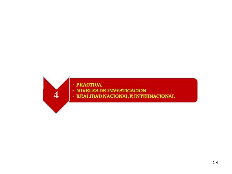 PRACTICA. NIVELES DE INVESTIGACION REALIDAD NACIONAL E INTERNACIONAL 4 39