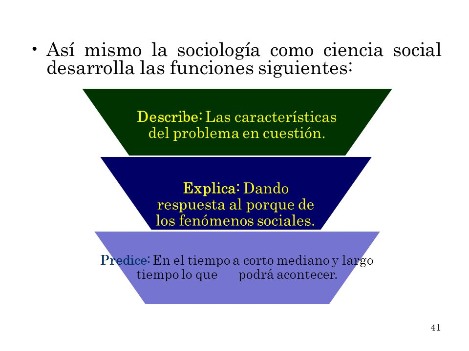 Así mismo la sociología como ciencia social desarrolla las funciones siguientes: Describe: Las características del problema en cuestión. Explica: Dand