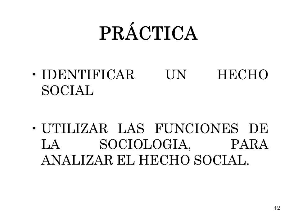 PRÁCTICA IDENTIFICAR UN HECHO SOCIAL UTILIZAR LAS FUNCIONES DE LA SOCIOLOGIA, PARA ANALIZAR EL HECHO SOCIAL. 42