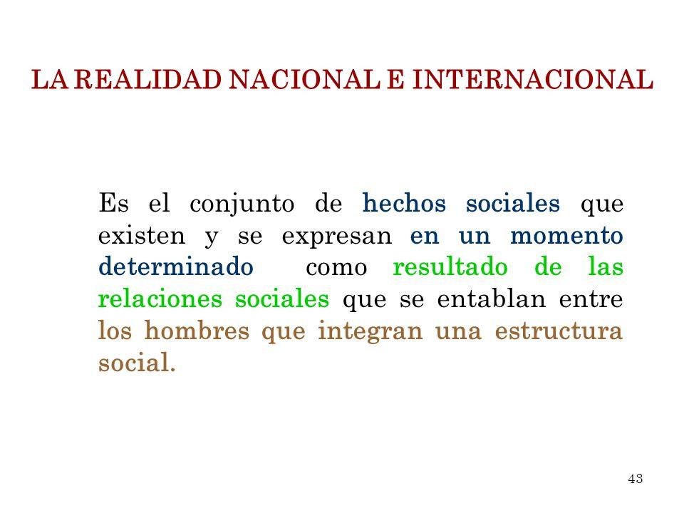 LA REALIDAD NACIONAL E INTERNACIONAL Es el conjunto de hechos sociales que existen y se expresan en un momento determinado como resultado de las relac