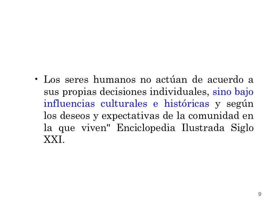 Los seres humanos no actúan de acuerdo a sus propias decisiones individuales, sino bajo influencias culturales e históricas y según los deseos y expec