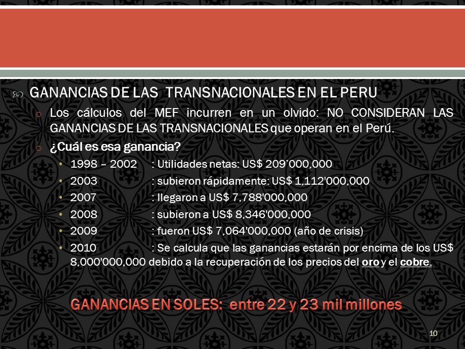 GANANCIAS DE LAS TRANSNACIONALES EN EL PERU o Los cálculos del MEF incurren en un olvido: NO CONSIDERAN LAS GANANCIAS DE LAS TRANSNACIONALES que opera