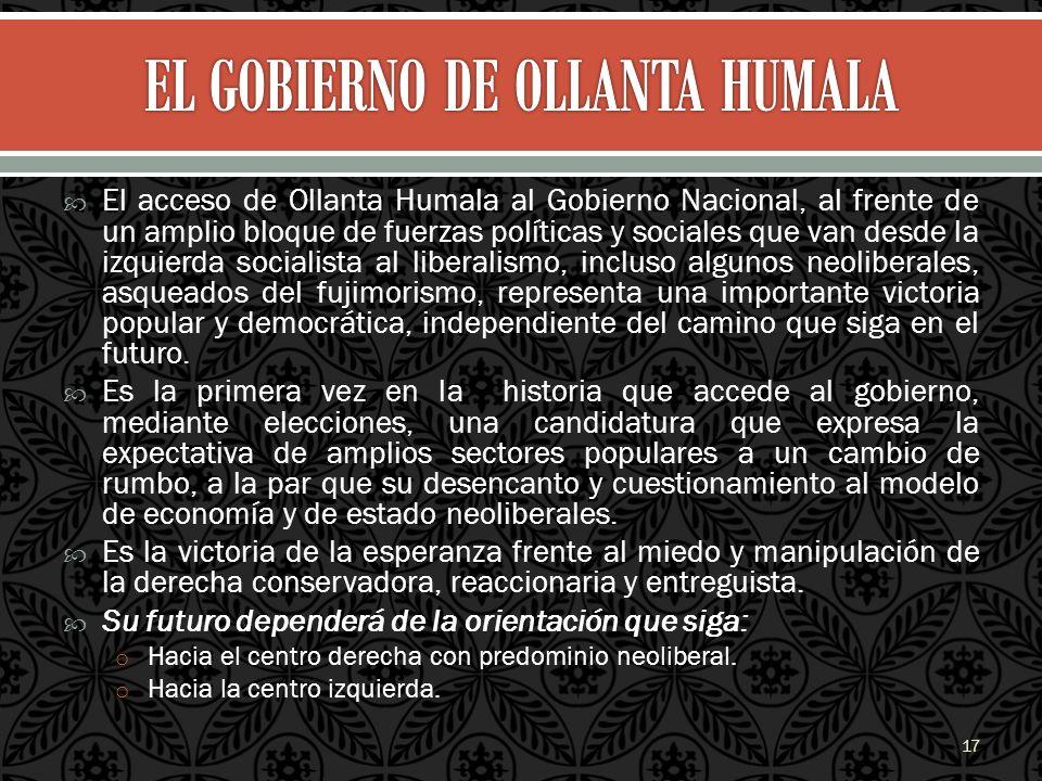 El acceso de Ollanta Humala al Gobierno Nacional, al frente de un amplio bloque de fuerzas políticas y sociales que van desde la izquierda socialista