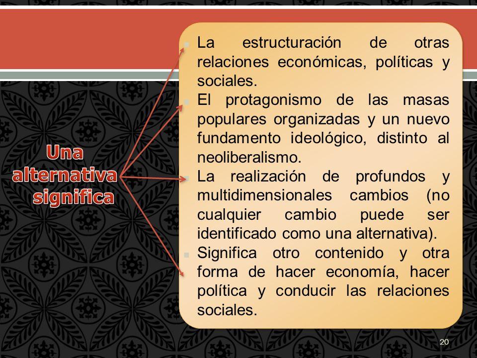 La estructuración de otras relaciones económicas, políticas y sociales. El protagonismo de las masas populares organizadas y un nuevo fundamento ideol