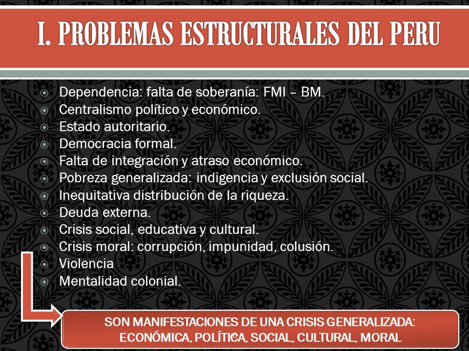 Dependencia: falta de soberanía: FMI – BM. Centralismo político y económico. Estado autoritario. Democracia formal. Falta de integración y atraso econ