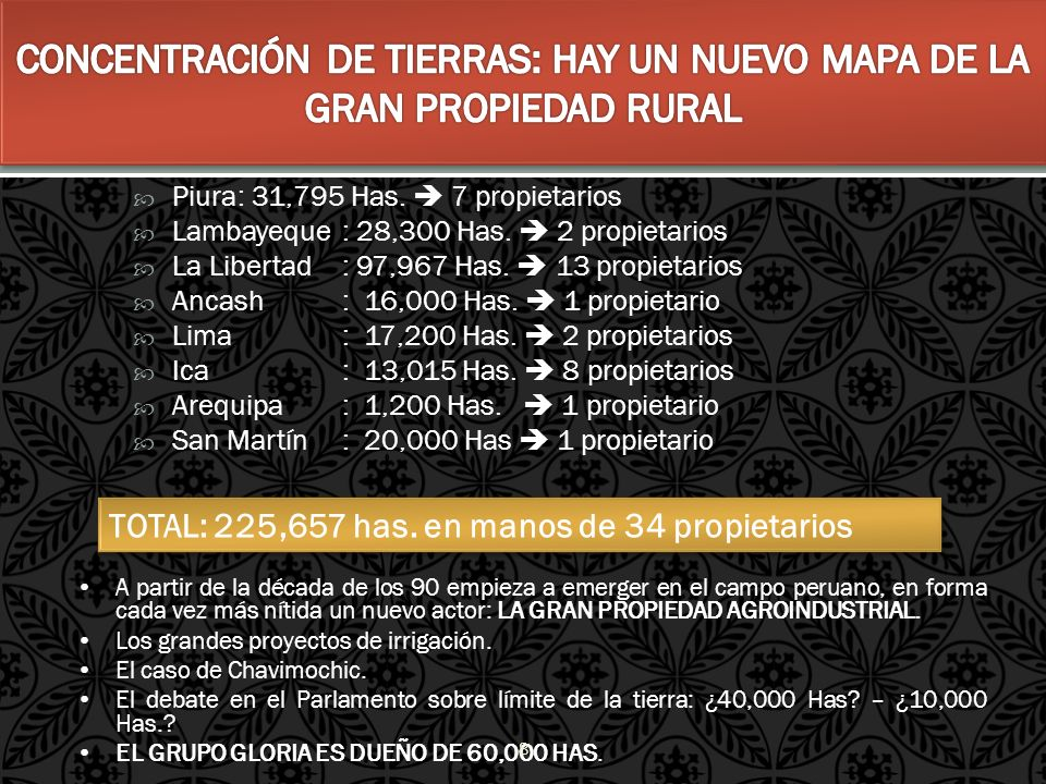 Piura: 31,795 Has. 7 propietarios Lambayeque: 28,300 Has. 2 propietarios La Libertad: 97,967 Has. 13 propietarios Ancash: 16,000 Has. 1 propietario Li