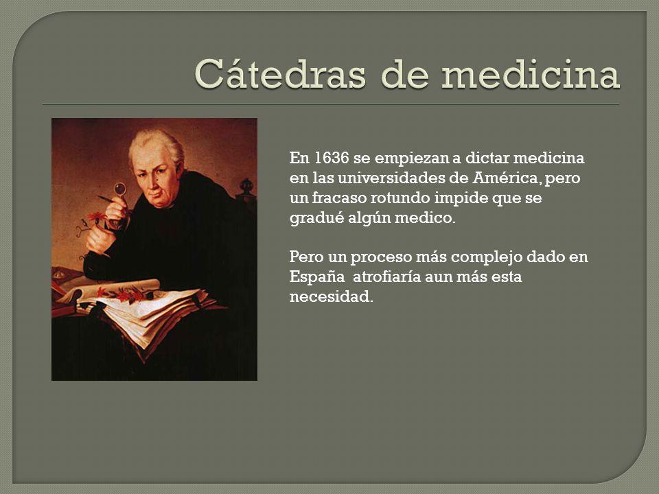 En 1636 se empiezan a dictar medicina en las universidades de América, pero un fracaso rotundo impide que se gradué algún medico.