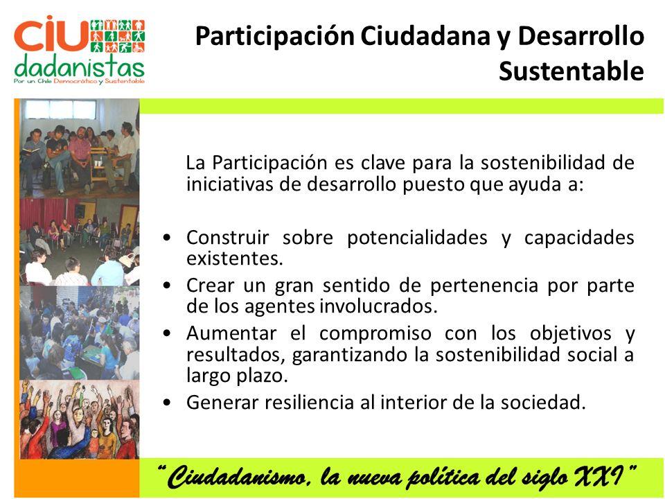 Participación Ciudadana y Desarrollo Sustentable La Participación es clave para la sostenibilidad de iniciativas de desarrollo puesto que ayuda a: Construir sobre potencialidades y capacidades existentes.
