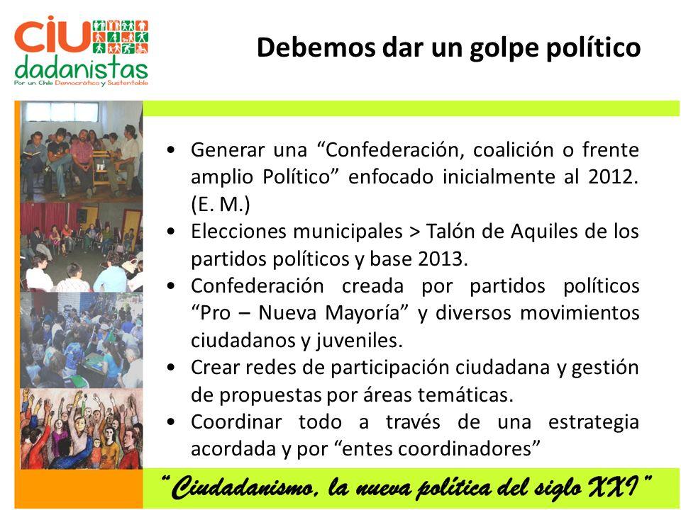 Generar una Confederación, coalición o frente amplio Político enfocado inicialmente al 2012.