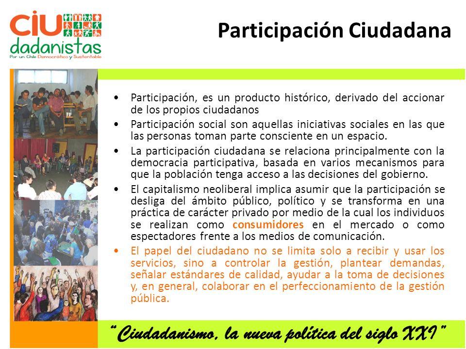Participación Ciudadana Participación, es un producto histórico, derivado del accionar de los propios ciudadanos Participación social son aquellas iniciativas sociales en las que las personas toman parte consciente en un espacio.