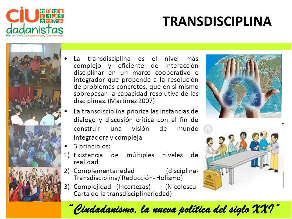 TRANSDISCIPLINA La transdisciplina es el nivel más complejo y eficiente de interacción disciplinar en un marco cooperativo e integrador que propende a la resolución de problemas concretos, que en si mismo sobrepasan la capacidad resolutiva de las disciplinas.