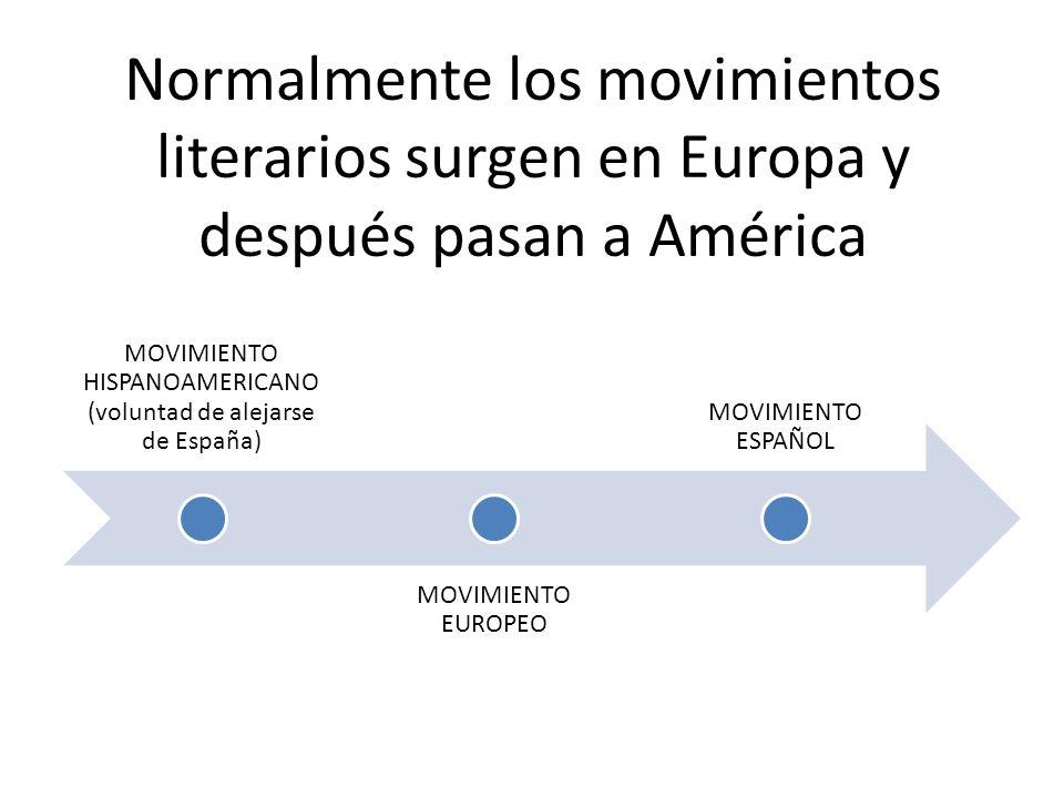 Normalmente los movimientos literarios surgen en Europa y después pasan a América MOVIMIENTO HISPANOAMERICANO (voluntad de alejarse de España) MOVIMIENTO EUROPEO MOVIMIENTO ESPAÑOL
