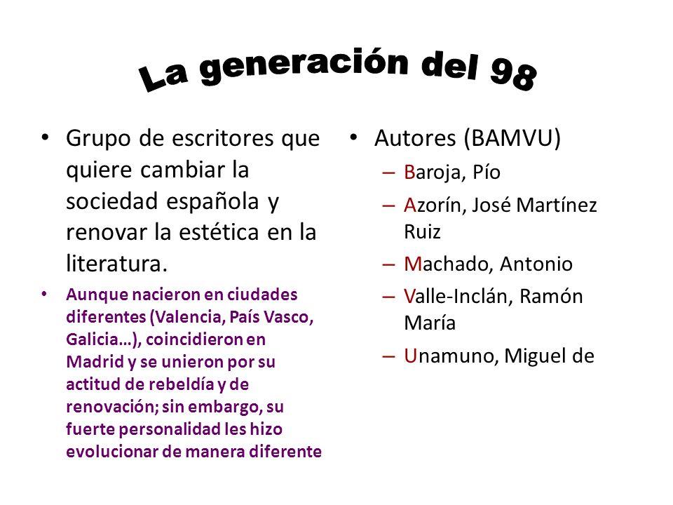 Grupo de escritores que quiere cambiar la sociedad española y renovar la estética en la literatura.