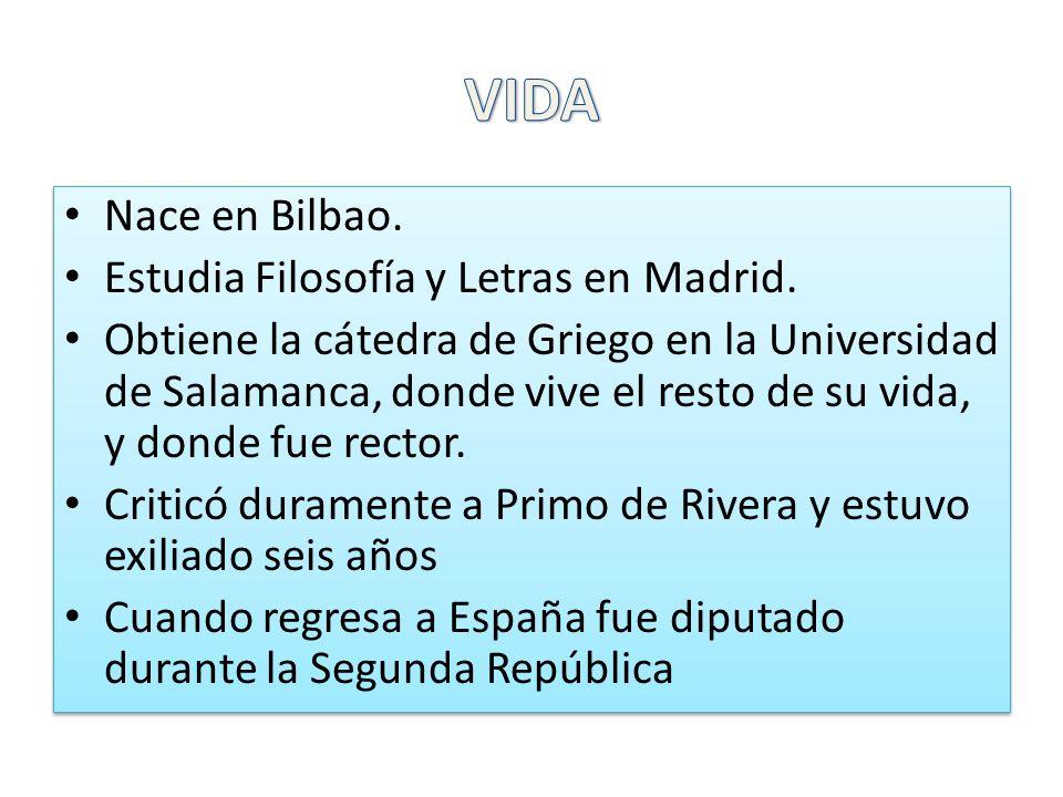 Nace en Bilbao. Estudia Filosofía y Letras en Madrid. Obtiene la cátedra de Griego en la Universidad de Salamanca, donde vive el resto de su vida, y d