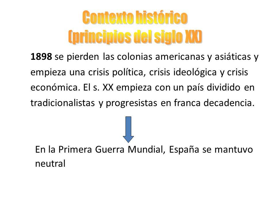 Reinado de Alfonso XIII (1902-1931) Persisten las tensiones entre los partidos políticos Se establece un sistema de turnos en el gobierno 1923-1930 Dictadura de Primo de Rivera Encrudece la situación porque se oponen todos los sectores sociales