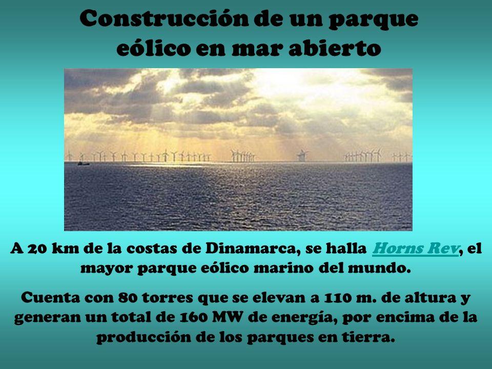 Construcción de un parque eólico en mar abierto A 20 km de la costas de Dinamarca, se halla Horns Rev, el mayor parque eólico marino del mundo.Horns Rev Cuenta con 80 torres que se elevan a 110 m.