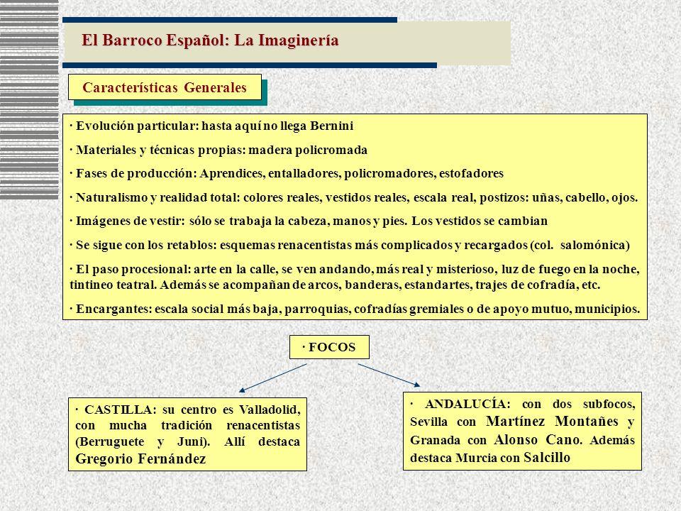 El Barroco Español: La Imaginería Características Generales · Evolución particular: hasta aquí no llega Bernini · Materiales y técnicas propias: mader