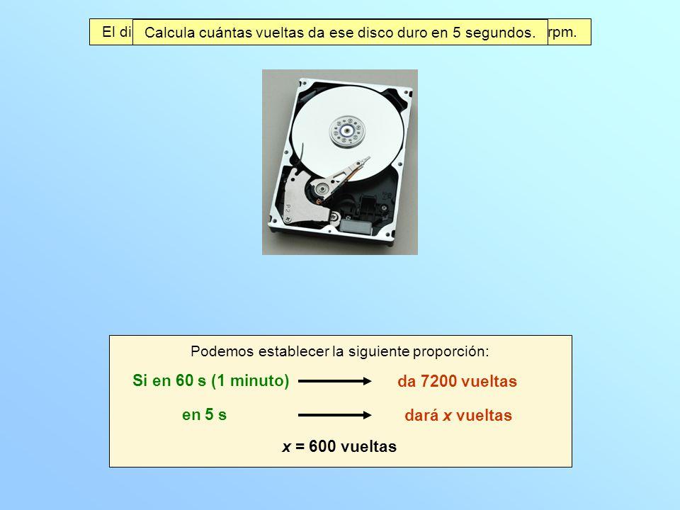 El disco duro de un ordenador gira con velocidad angular de 7200 rpm.
