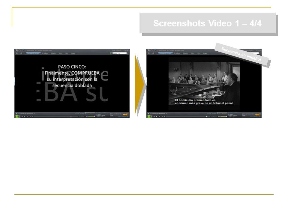 Screenshots Video 1 – 4/4 Secuencia en español