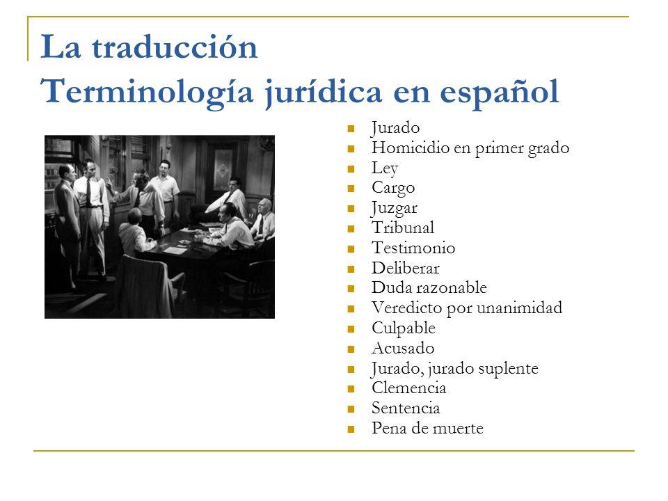 La traducción Terminología jurídica en español Jurado Homicidio en primer grado Ley Cargo Juzgar Tribunal Testimonio Deliberar Duda razonable Veredict