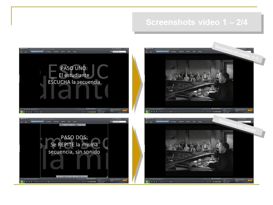Screenshots video 1 – 2/4 Secuencia en inglés, V.O. Secuencia sin sonido
