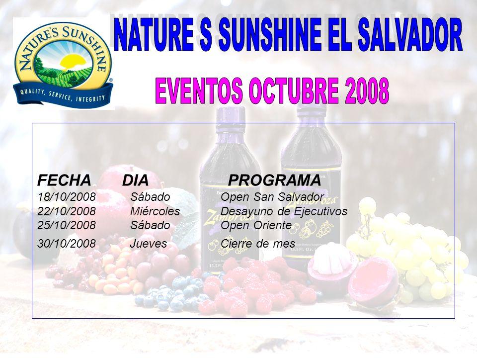 FECHA DIA PROGRAMA 18/10/2008 Sábado Open San Salvador 22/10/2008 Miércoles Desayuno de Ejecutivos 25/10/2008 Sábado Open Oriente 30/10/2008 Jueves Ci