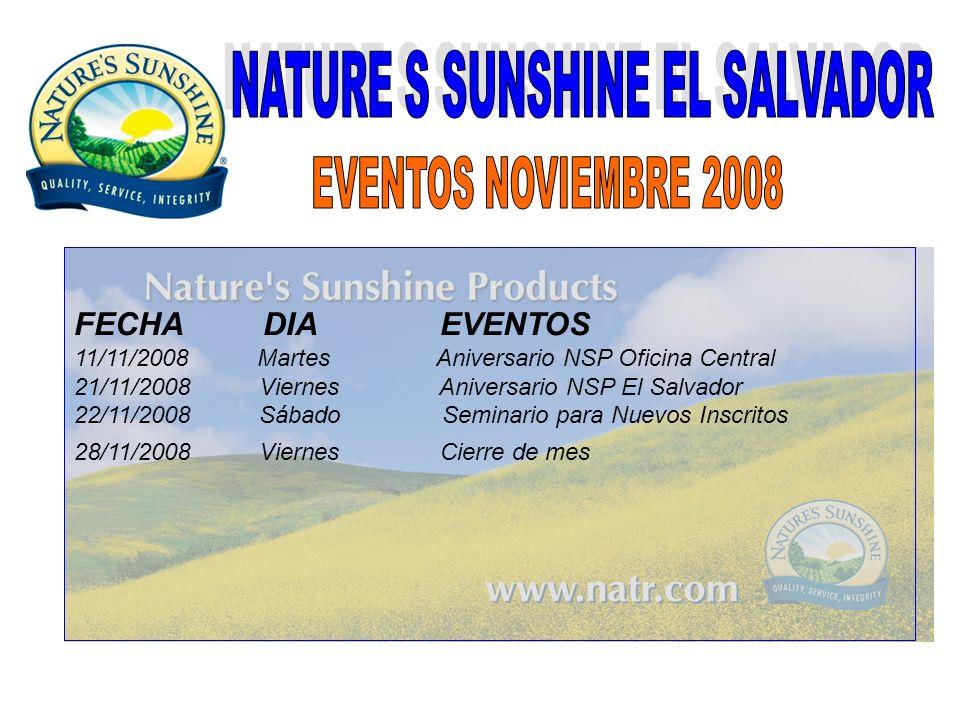 FECHA DIA EVENTOS 11/11/2008 Martes Aniversario NSP Oficina Central 21/11/2008 Viernes Aniversario NSP El Salvador 22/11/2008 Sábado Seminario para Nu