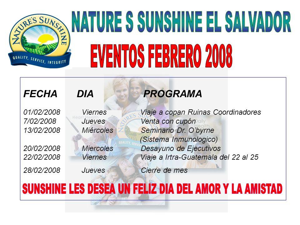 FECHA DIA PROGRAMA 01/02/2008 Viernes Viaje a copan Ruinas Coordinadores 7/02/2008 Jueves Venta con cupón 13/02/2008 Miércoles Seminario Dr. Obyrne (S