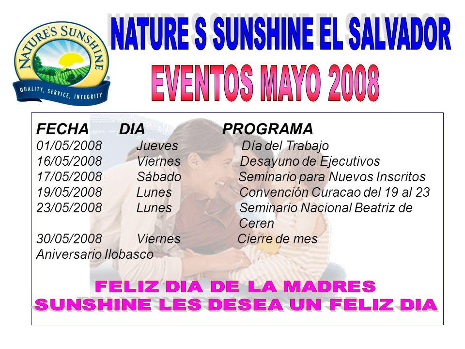 FECHA DIA PROGRAMA 15/06/2008 Domingo Viaje Rising Star 18/06/2008 Miércoles Desayuno de Ejecutivos 21/06/2008 Sábado Día de la Familia 24/06/2008 Martes Seminario Dr.