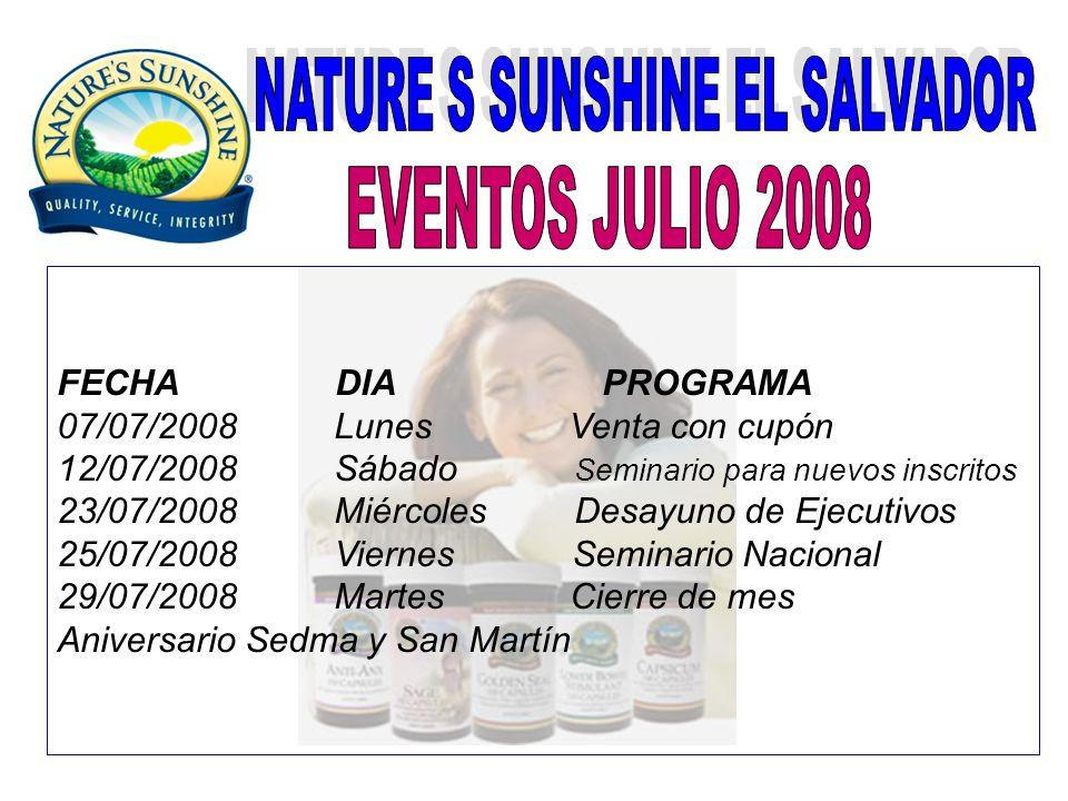 FECHA DIA PROGRAMA 07/07/2008 Lunes Venta con cupón 12/07/2008 Sábado Seminario para nuevos inscritos 23/07/2008 Miércoles Desayuno de Ejecutivos 25/0
