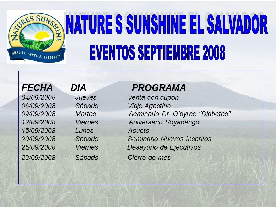 FECHA DIA PROGRAMA 18/10/2008 Sábado Open San Salvador 22/10/2008 Miércoles Desayuno de Ejecutivos 25/10/2008 Sábado Open Oriente 30/10/2008 Jueves Cierre de mes