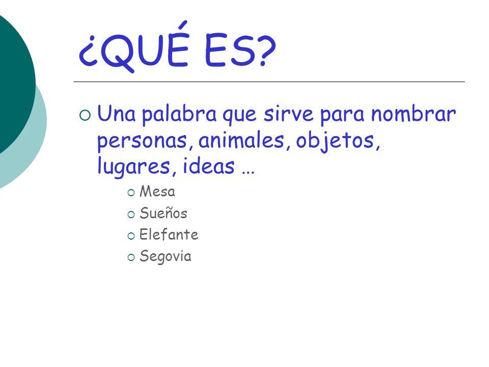 ¿QUÉ ES? Una palabra que sirve para nombrar personas, animales, objetos, lugares, ideas … Mesa Sueños Elefante Segovia