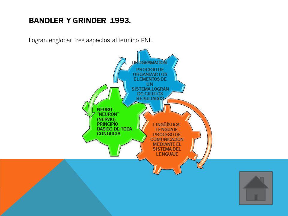 BANDLER Y GRINDER 1993. Logran englobar tres aspectos al termino PNL: LINGÜÍSTICA: LENGUAJE, PROCESO DE COMUNICACIÓN MEDIANTE EL SISTEMA DEL LENGUAJE