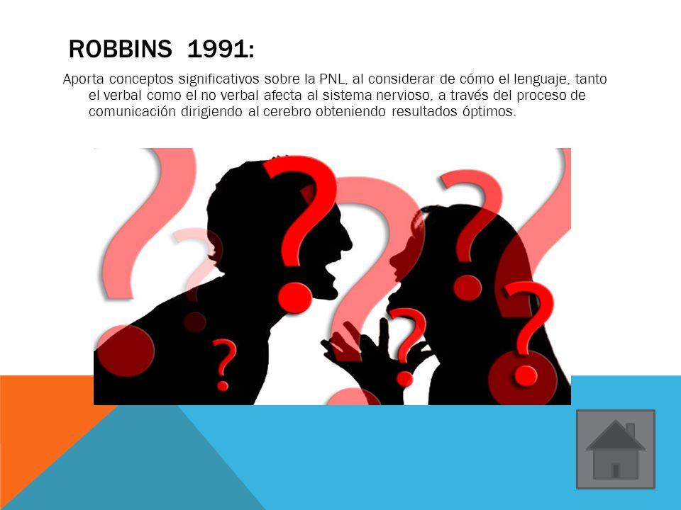 ROBBINS 1991: Aporta conceptos significativos sobre la PNL, al considerar de cómo el lenguaje, tanto el verbal como el no verbal afecta al sistema ner