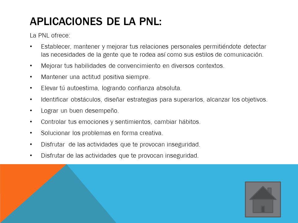 APLICACIONES DE LA PNL: La PNL ofrece: Establecer, mantener y mejorar tus relaciones personales permitiéndote detectar las necesidades de la gente que