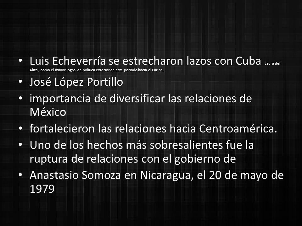 Luis Echeverría se estrecharon lazos con Cuba Laura del Alizal, como el mayor logro de política exterior de este periodo hacia el Caribe.