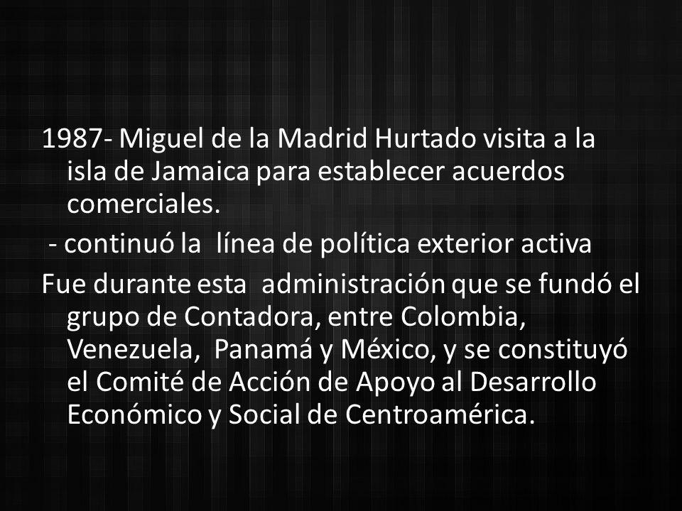 1987- Miguel de la Madrid Hurtado visita a la isla de Jamaica para establecer acuerdos comerciales.