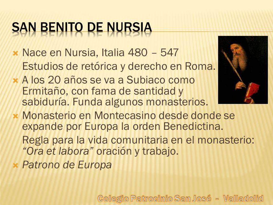 Nace en Nursia, Italia 480 – 547 Estudios de retórica y derecho en Roma. A los 20 años se va a Subiaco como Ermitaño, con fama de santidad y sabiduría