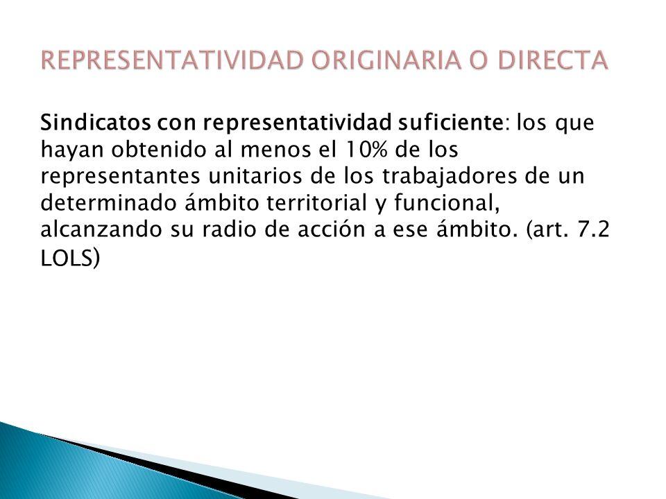 Adquisición de tal condición por adscripción o pertenencia a una organización más representativa (art.6.2 b) y 7.1 b)).
