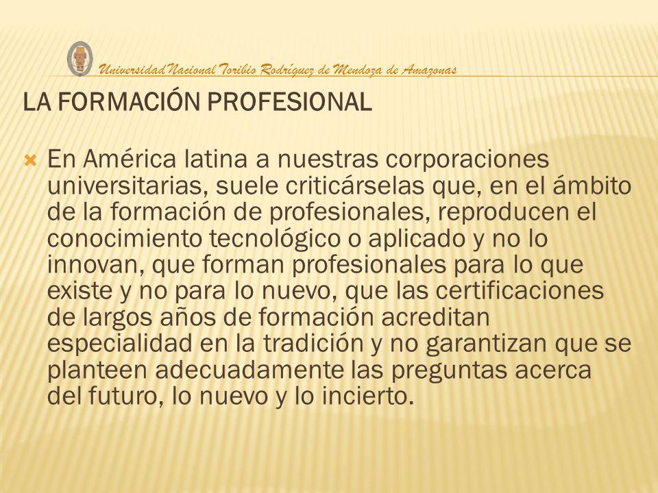 LA FORMACIÓN PROFESIONAL En América latina a nuestras corporaciones universitarias, suele criticárselas que, en el ámbito de la formación de profesion